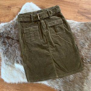 Bubblegum Belted Corduroy Pencil Skirt Green 4